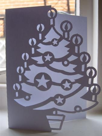 CHRISTMAS TREE OVER THE EDGE CARD 1 SVG on Craftsuprint designed by Clive Couter - svg files