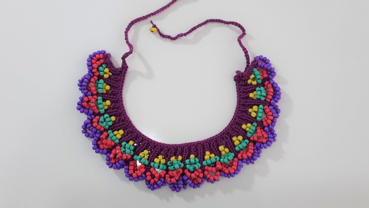Boncuklu Kolye Yapımı (Şiş İle) | Margele | Pinterest | Beads ...