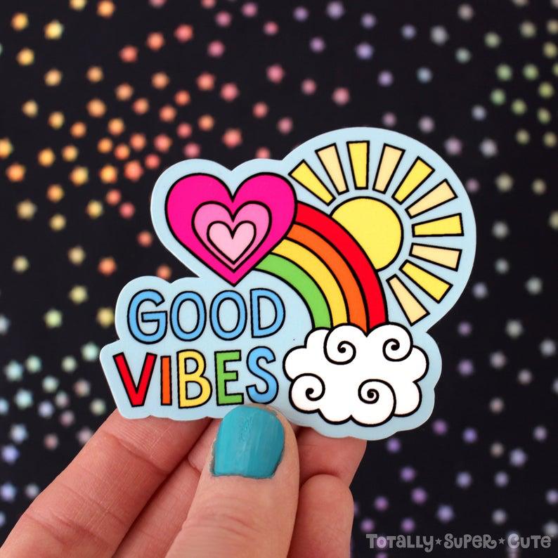 GOOD VIBES RAINBOW Happy Vinyl Decal Sticker • Laptop ...