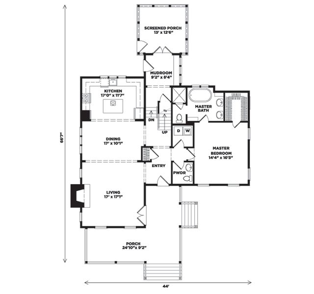 This Plan Works! Only 44-feet Wide. Wildmere Creek Cottage