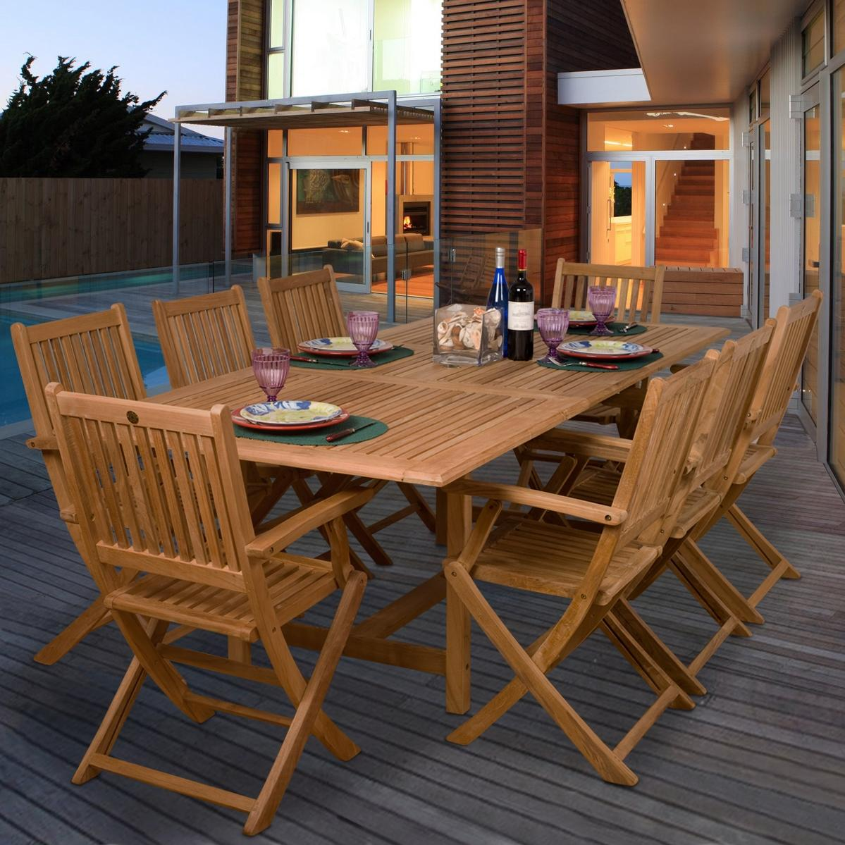 $1939 Amazonia Teak Hamburg 8 Person Teak Patio Dining Set With Extension  Table And Folding