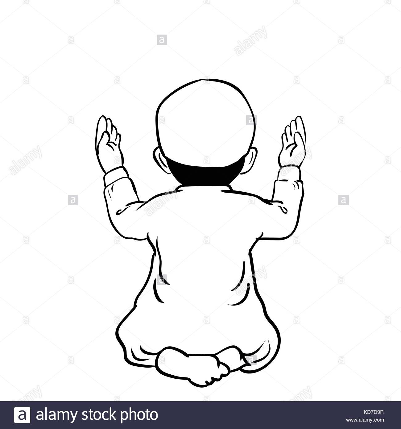 Download This Stock Vector Hand Drawn Muslim Boy Have A Pray Time With Hands Up In The Air Dua Pose With B How To Draw Hands Cartoon Illustration Anime Muslim