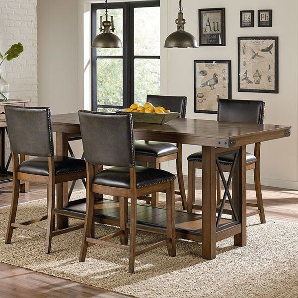 Emmy Counter Height Dining Table Has Great Design Features With Its Blackened Metal X Elements And Warm Brown Distressed Pine Finish