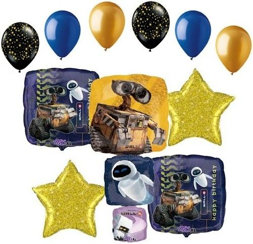 Disney Pixar Wall E Foil Balloon Bouquet Decoration Party Happy Birthday Space