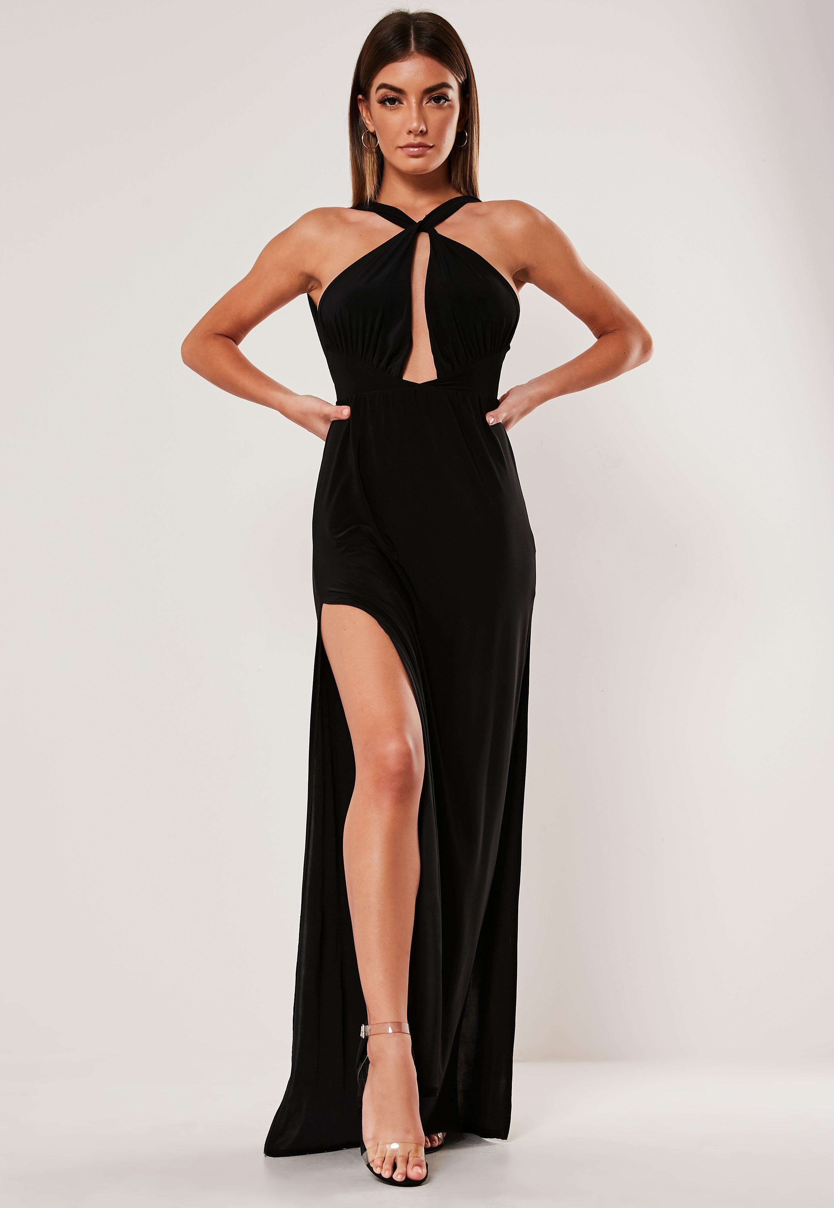 Black Double Split Plunge Halterneck Maxi Dress Sponsored Split Spon Double Black Dresses Maxi Dress New Years Dress [ 4200 x 2900 Pixel ]