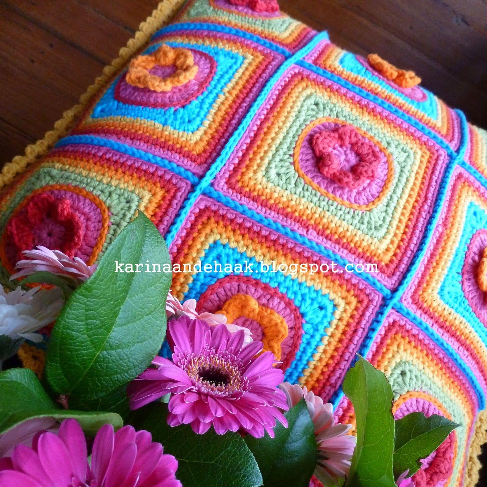 Karin Aan De Haak Superzoet Regenboog Bloemen Kussen Patroon In