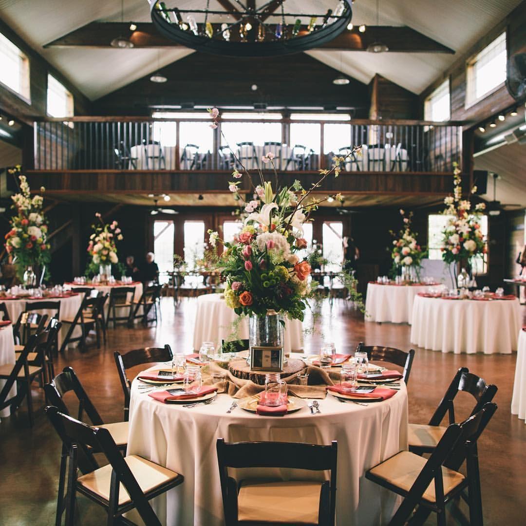 Elegant wedding reception at rustic ranch venue at Thistle