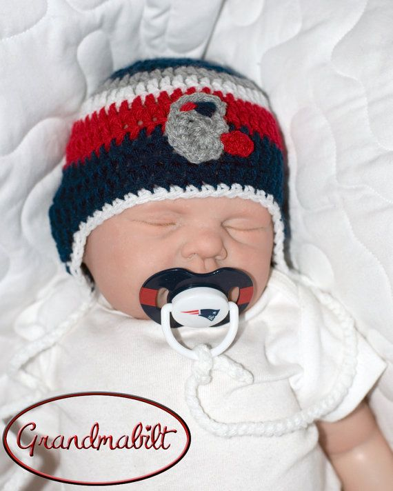 NEW ENGLAND PATRIOTS Football Hat & Pacifier Baby Boys Navy Blue, Red, Grey and White Flower can be added for Girls - Size 0-3 Months on Etsy, $34.00