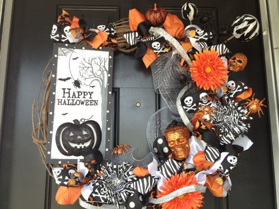 Halloween Wreath by TwistedandTwizzled on Etsy, $100.00