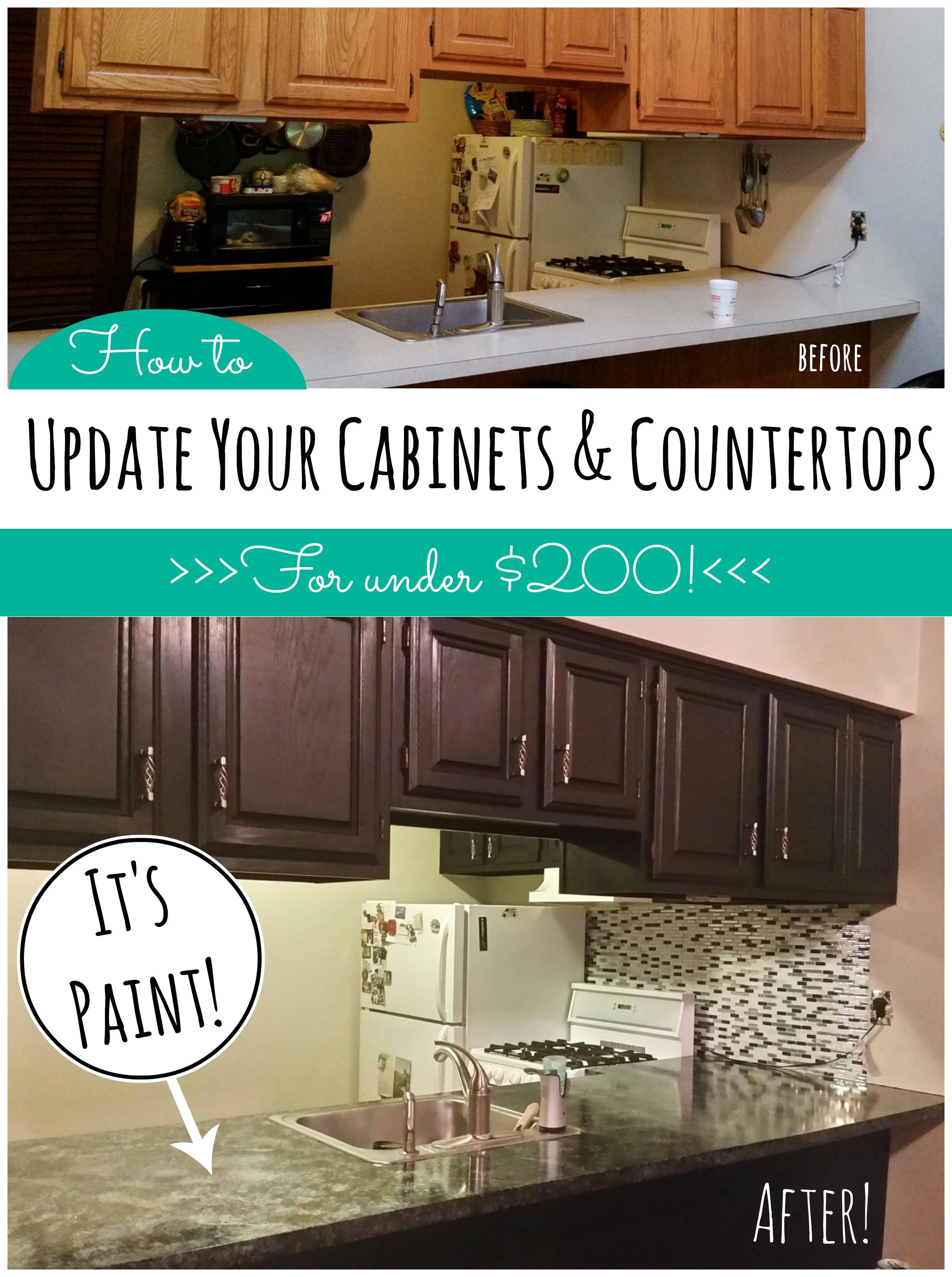 Kitchen Update On A Budget! Countertop Paint That Looks Like Granite And  One Day