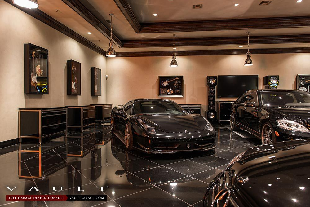 From A Recent Vault Garage Design Project In Texas We Powder Coated Our Pro Series Garagecabinets In Starlight Black T Garage Design Garage Interior Design