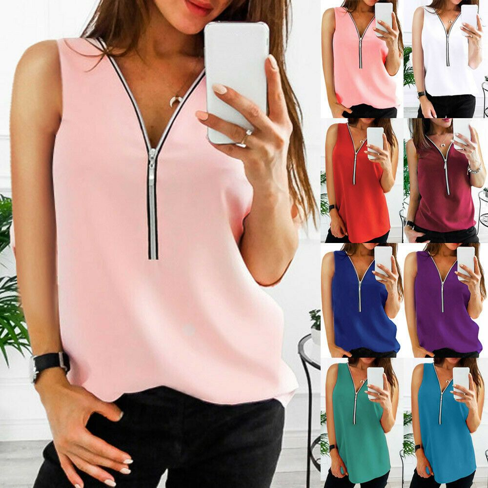 2020 Womens V-Neck Zipper Tops Summer T-Shirts Casual Solid Blouse Loose Vest Ladies Tee Top