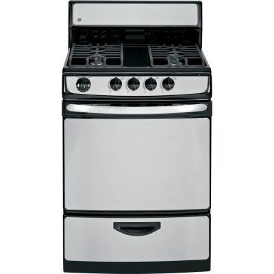 Ge 24 In 3 0 Cu Ft Gas Range In Stainless Steel Jgas02senss The Home Depot With Images Kitchen Stove Gas Range New Stove