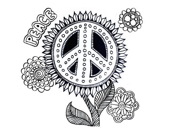 peace floral flowers hippie peace sign coloring page