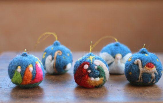 Items similar to SET OF 5- Needle Felted Christmas Ornaments, Hanging ornaments, Christmas tree decoration, Cloudberry, Nativity, Scene, Camel,Shepherd,Angel on Etsy