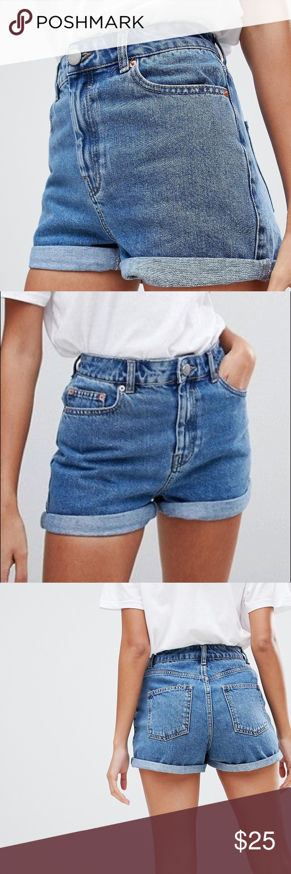 Levis High Waisted Cut Off Denim Shorts with a bow on
