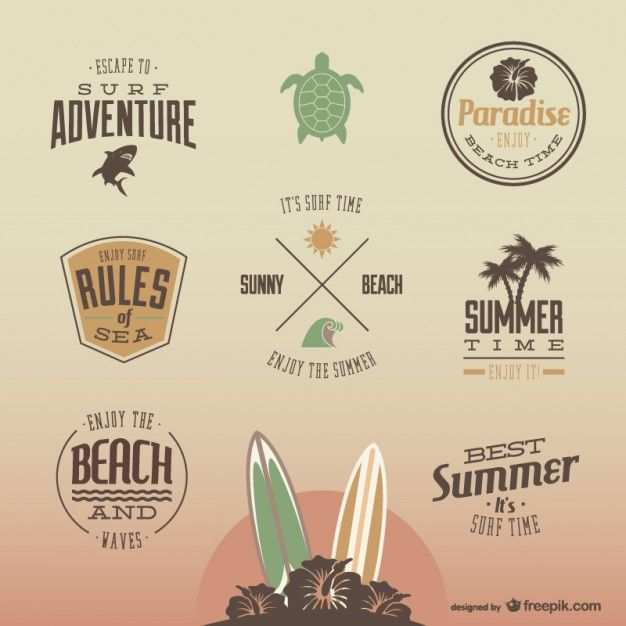 Stylish Surf Badges In Vintage Style Vector