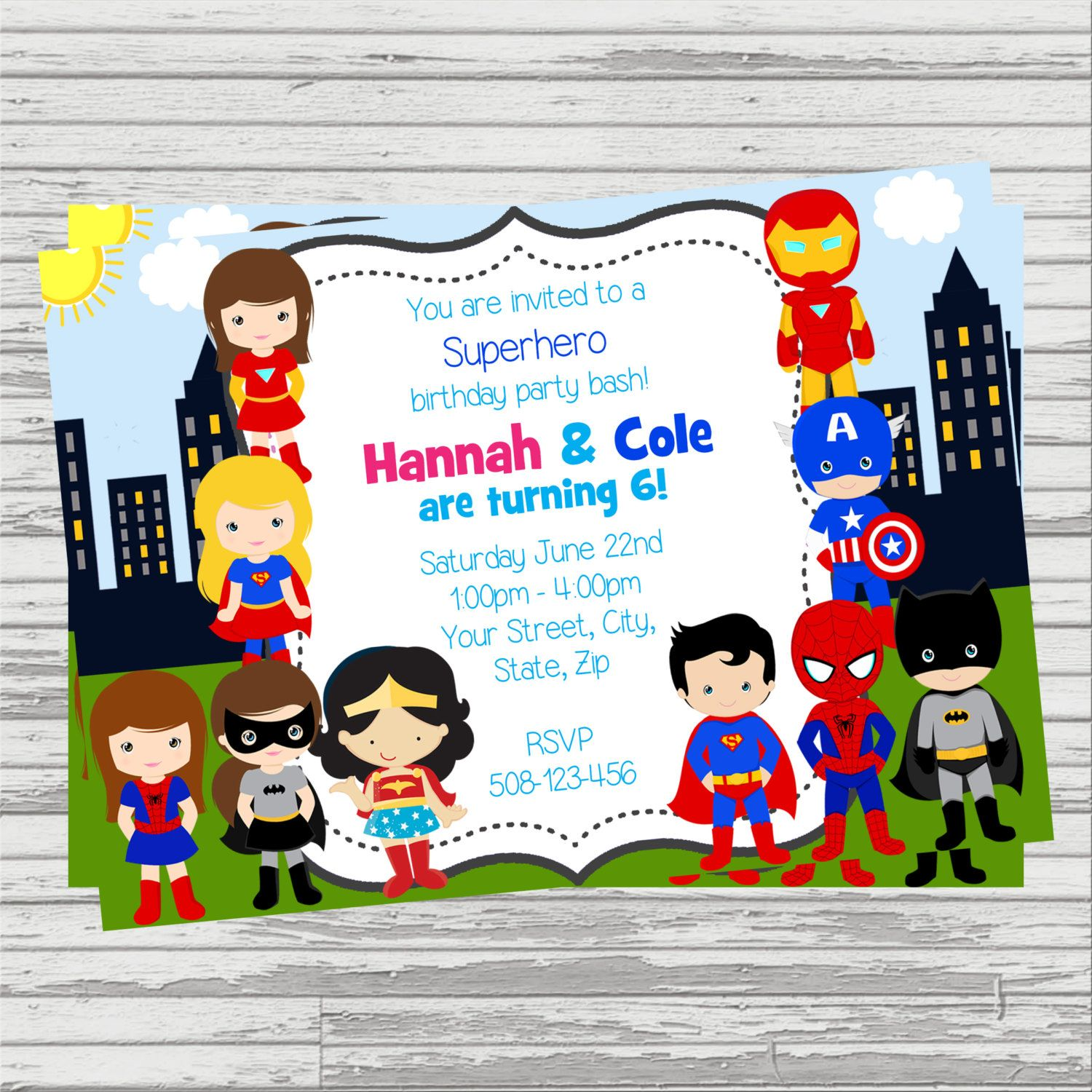 Boy and Girl Superheroes TwinsJoint Party Custom DIGITAL Birthday