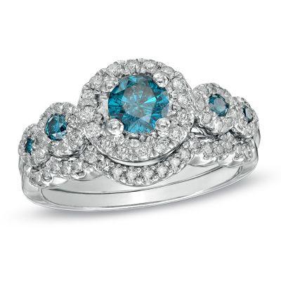 118 CT TW Enhanced Blue and White Diamond Five Stone Frame