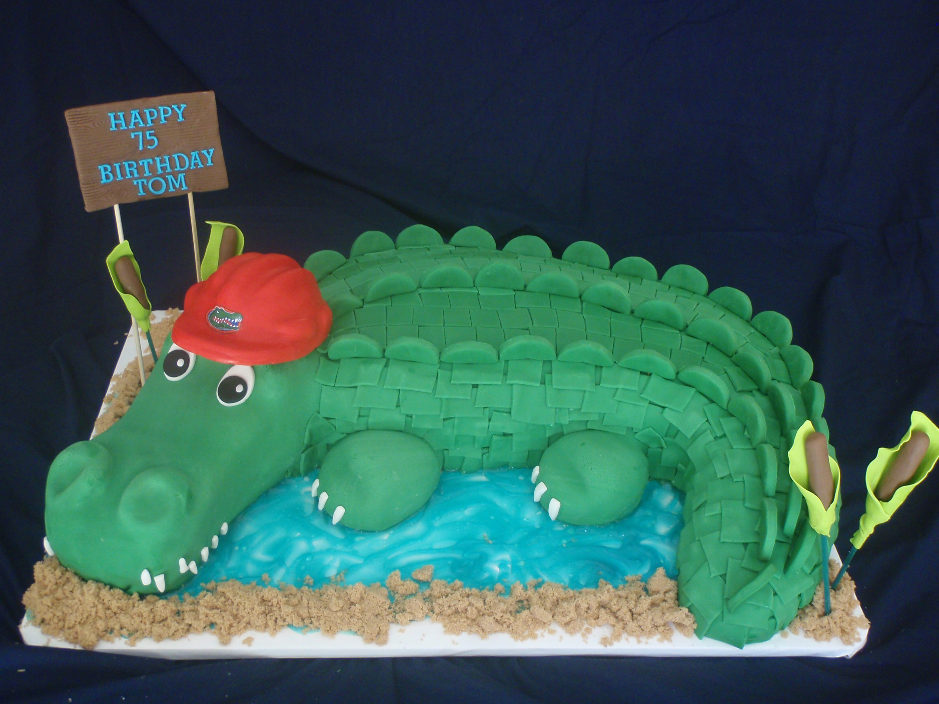 Sensational Gator Birthday Cake With Images Alligator Cake Custom Cakes Funny Birthday Cards Online Alyptdamsfinfo