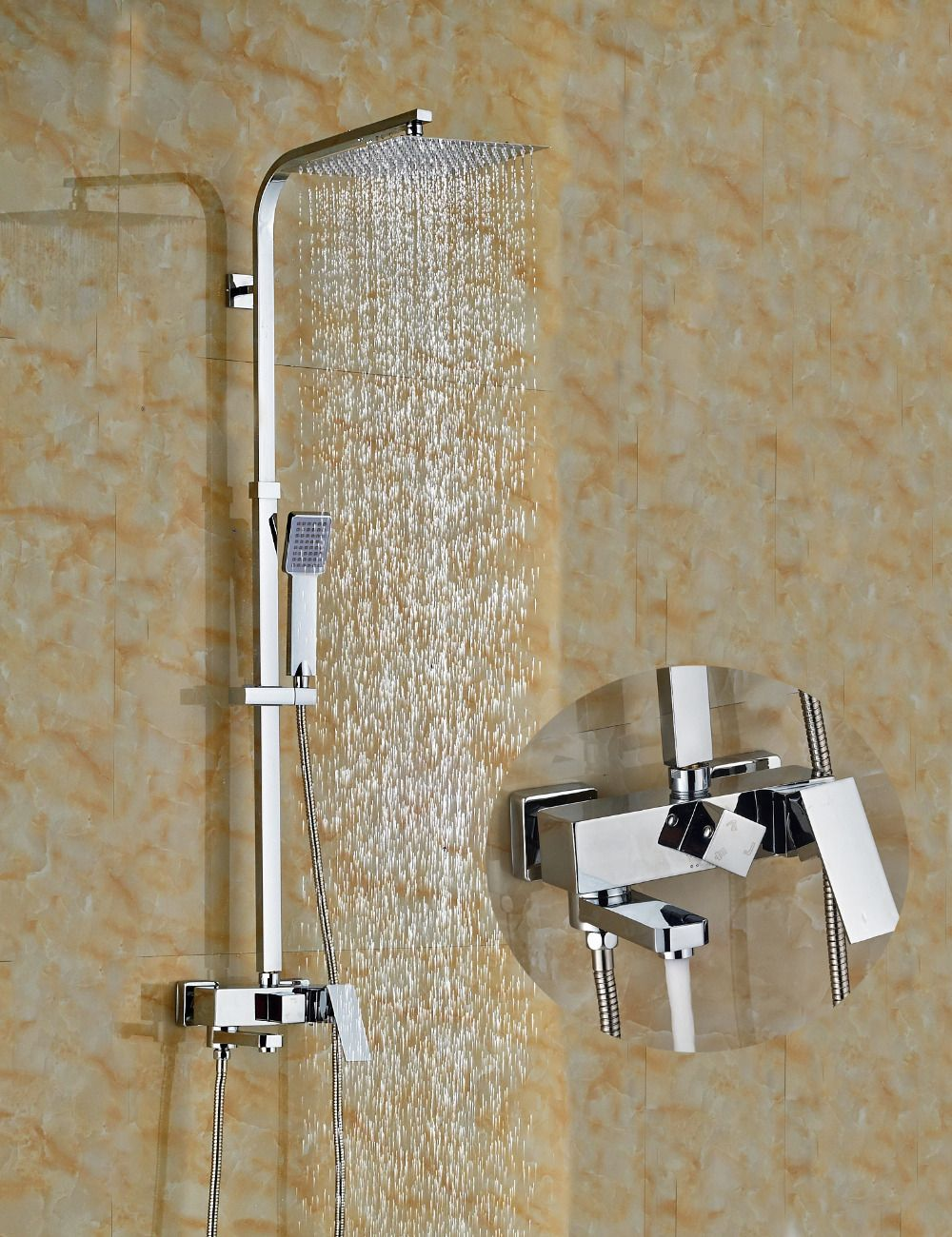 Wholesale And Retail Chrome Brass Square Rain Shower Head Shower