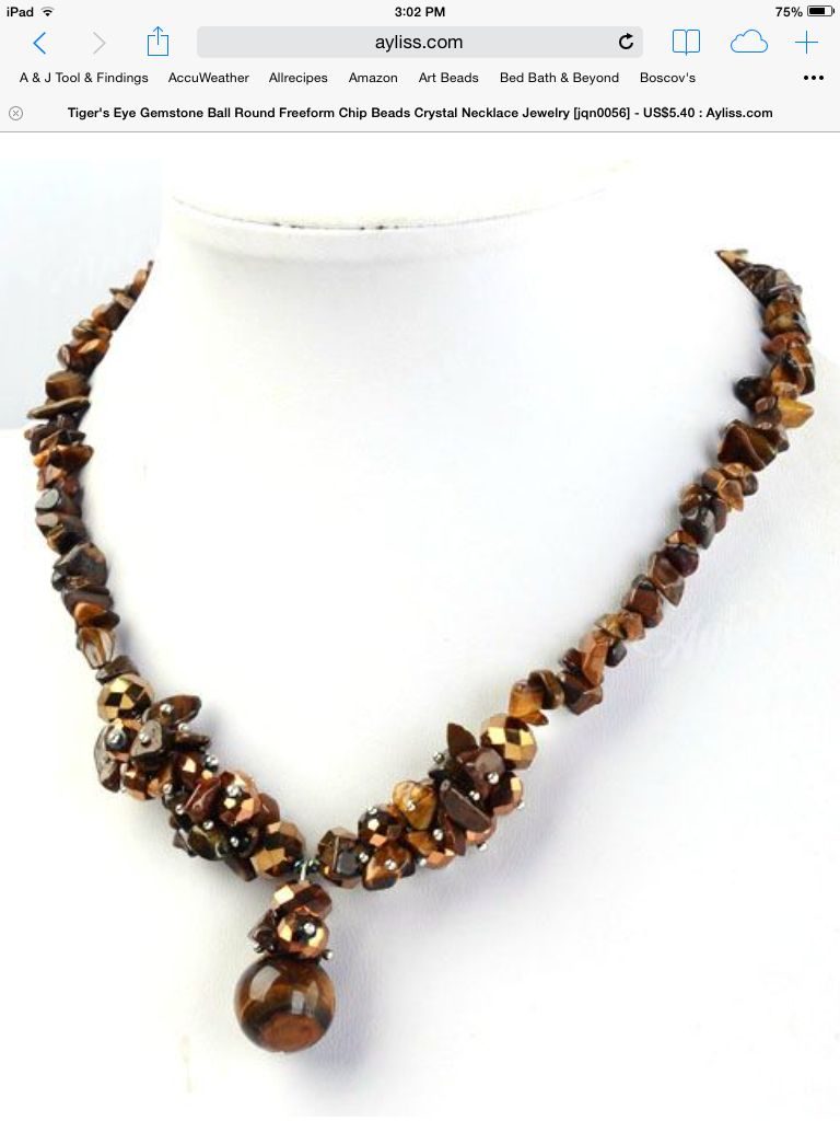 Tiger eye chip bead necklace