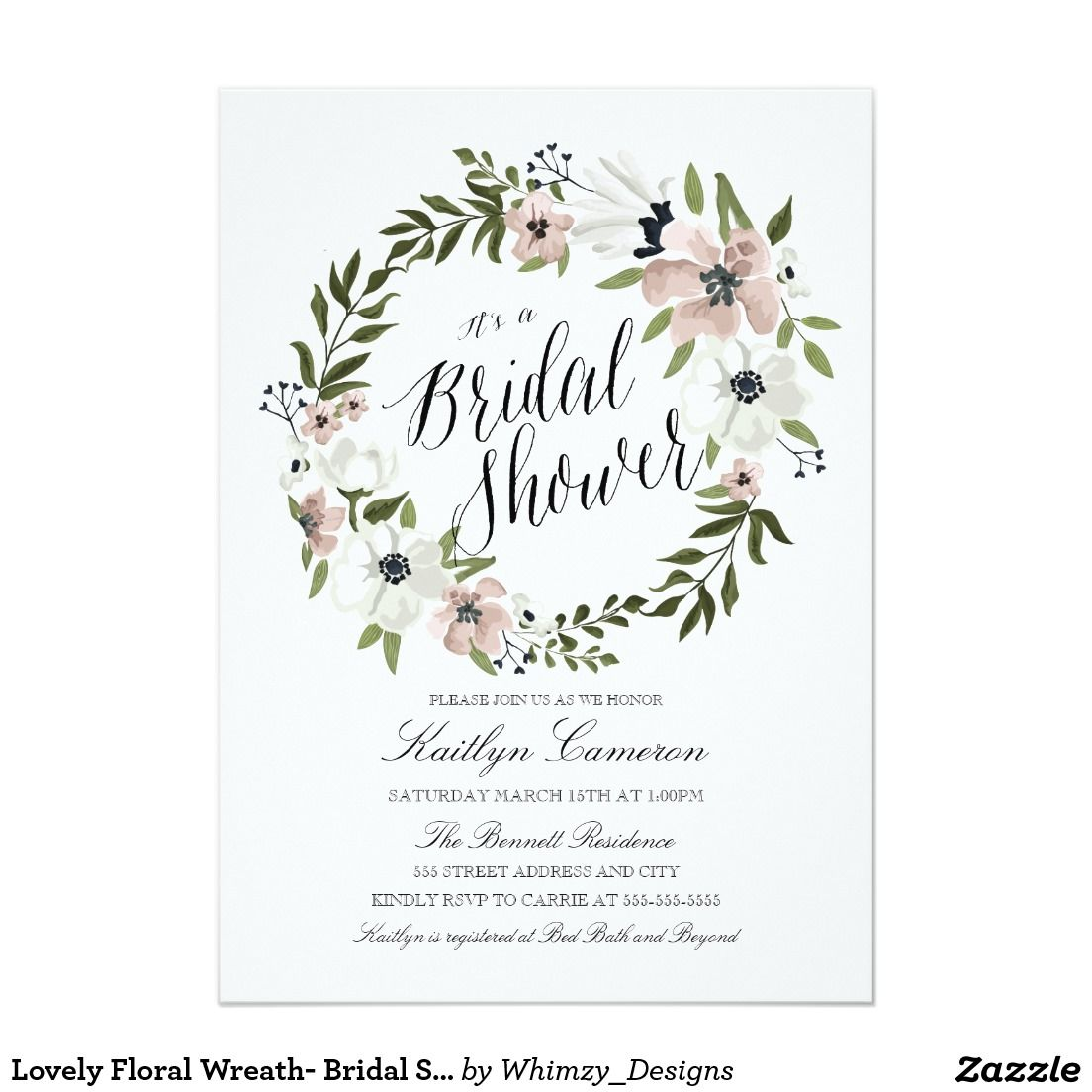 Lovely Floral Wreath Bridal Shower Invitation Floral Wreath