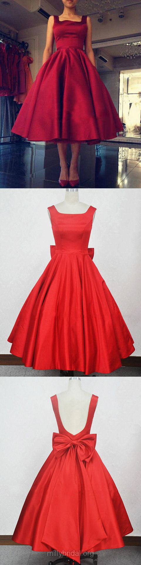 Red prom dresses ball gown short prom dresses square neckline