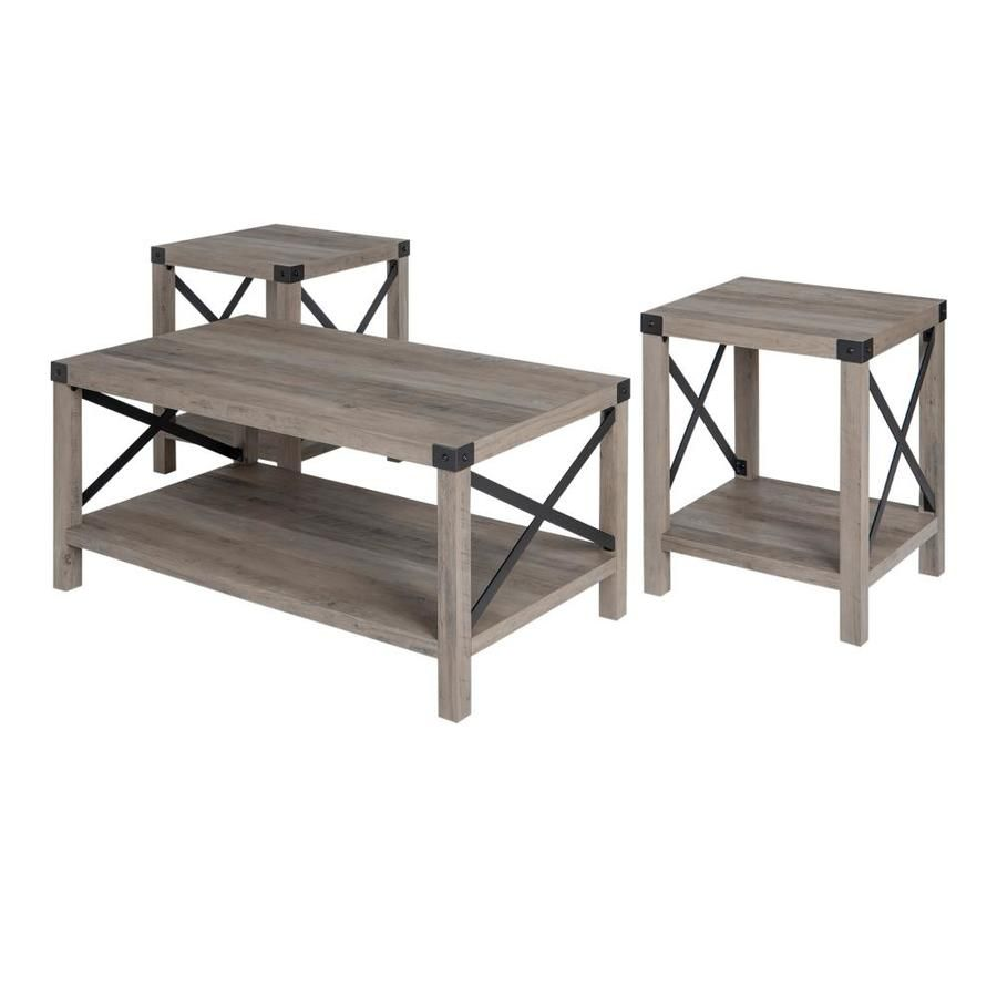 Walker Edison 3 Piece Grey Wash Accent Table Set Lowes Com Coffee Table Metal Accent Table Tv Stand And Coffee Table [ 900 x 900 Pixel ]
