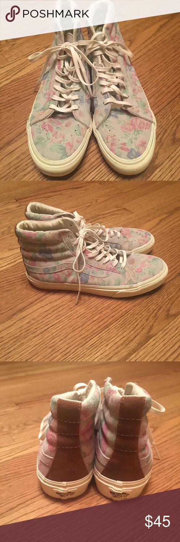 dcdf60f84d Vans Womens SK8 Hi Slim Suede Floral Marshmallow Worn Twice. Size 8.5 Vans  Shoes Sneakers