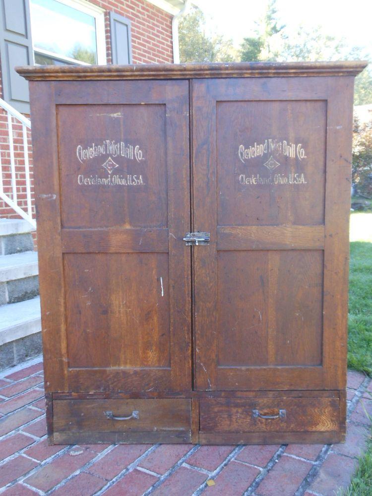 Rare Antique Original Cleveland Twist Drill Company Wood Advertising Cabinet - Rare Antique Original Cleveland Twist Drill Company Wood