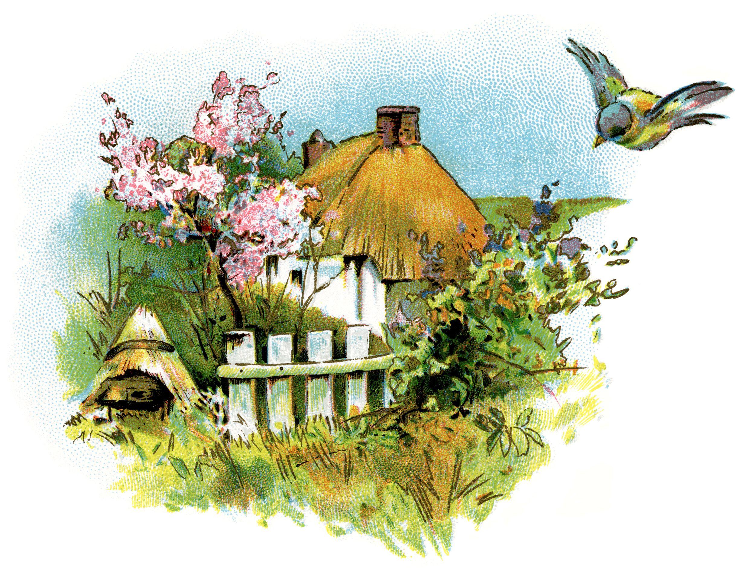 Small Country Cottage Clip Art   Clip art vintage, Cottage art ...