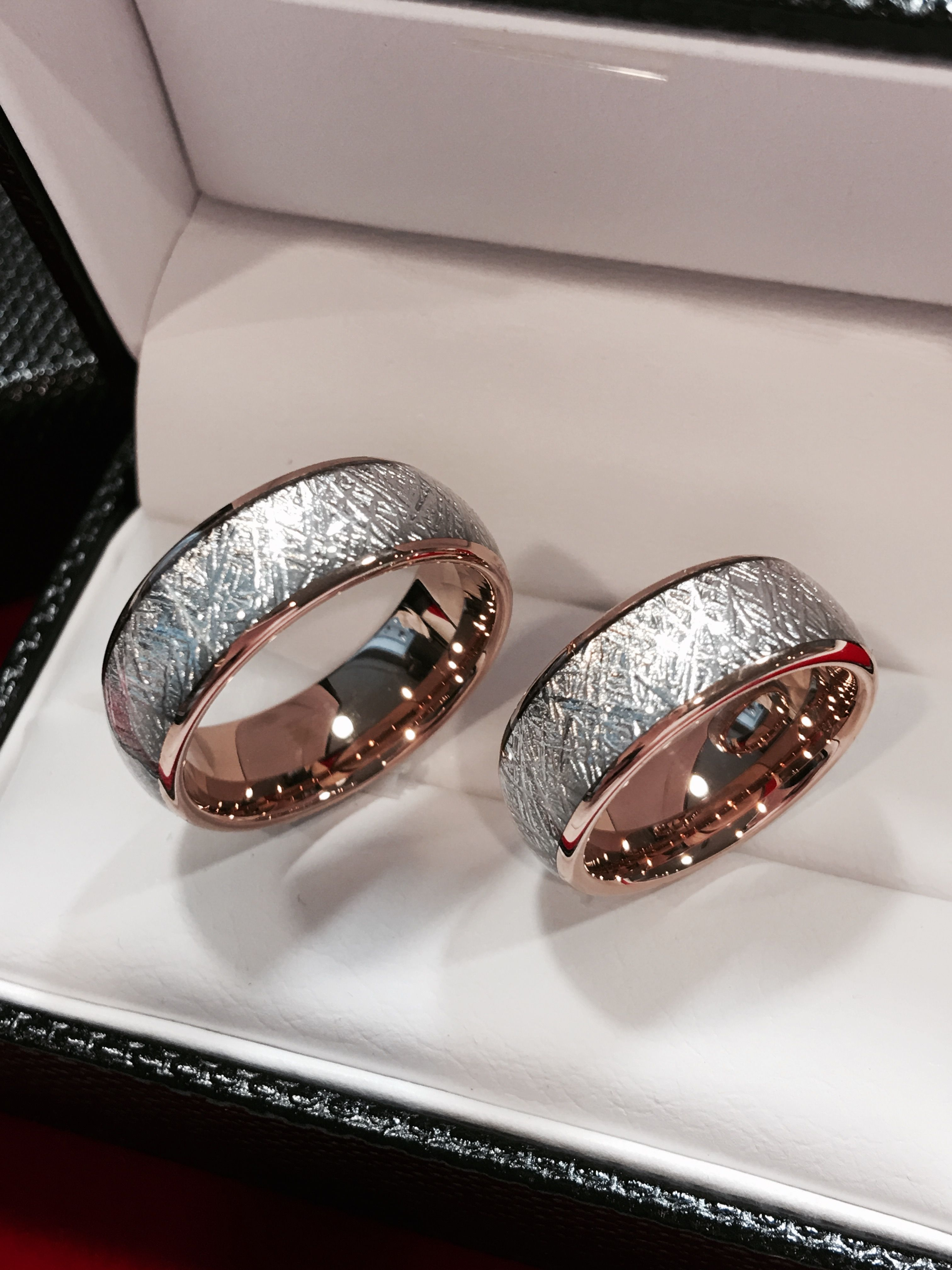 Matching Wedding Bands, Rose Gold Meteorite Rings