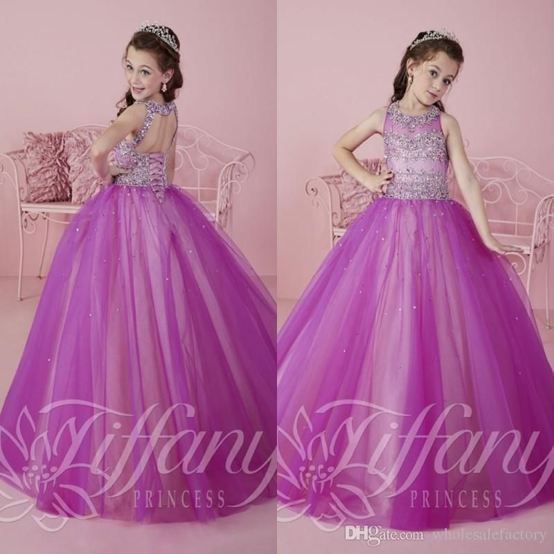2016 Sparkly Purple Princess Tulle Ball Gown Pageant Dresses For ...