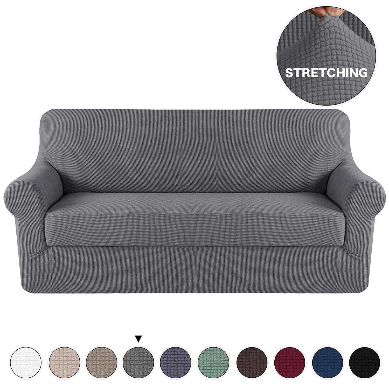 Grey Sofa Slipcover Couch Cover 2 Piece With Separate Cushion