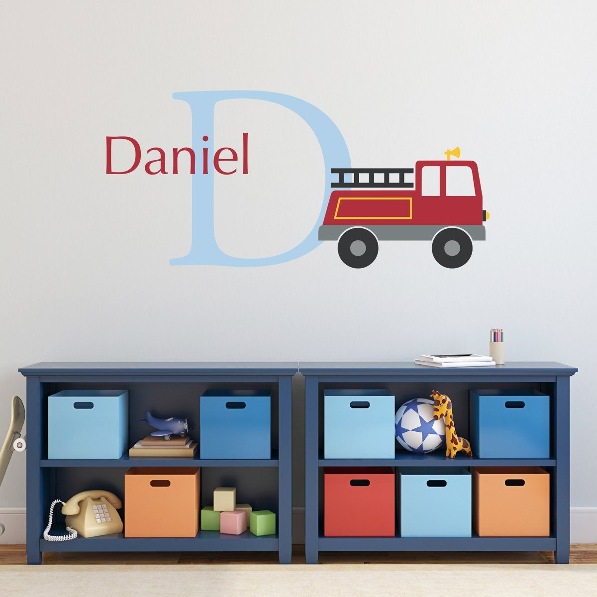 Fire truck loft bed with slide  Personalized Fire Truck Wall Decal DE  Wall decals and Products