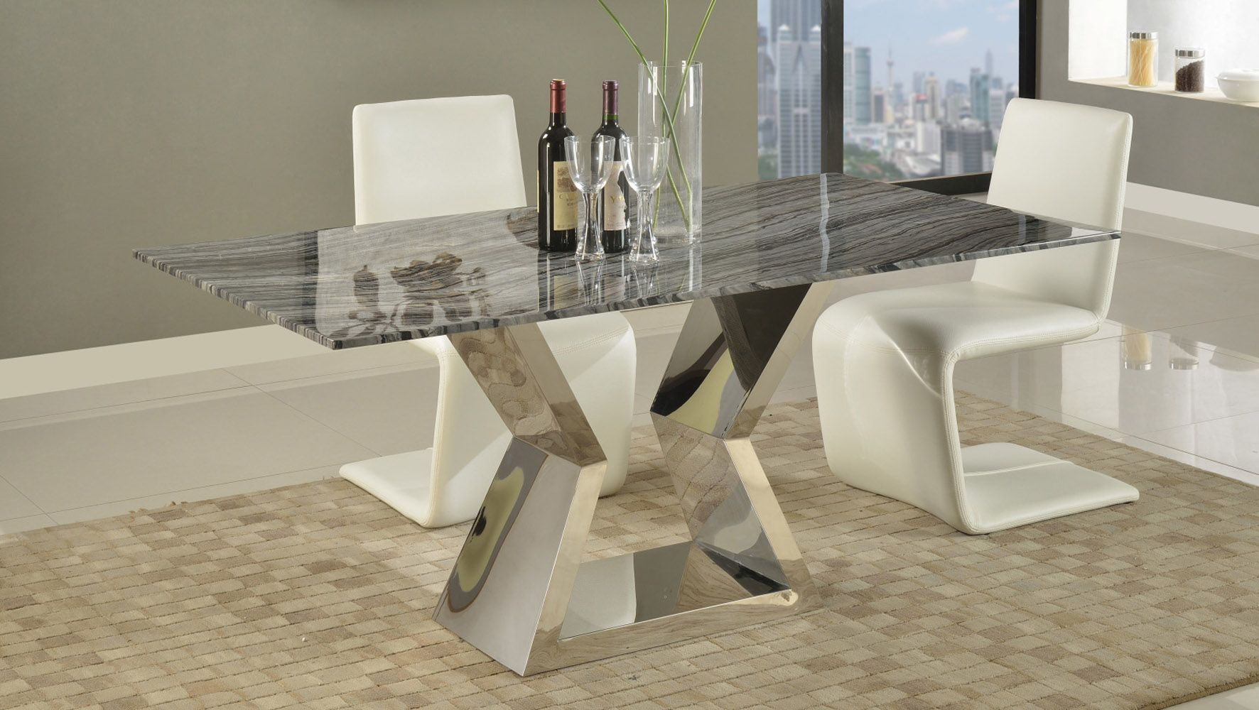 704d87f4a173 Grigio Modern Dining Table with Marble Top and Chrome Base | Zuri Furniture