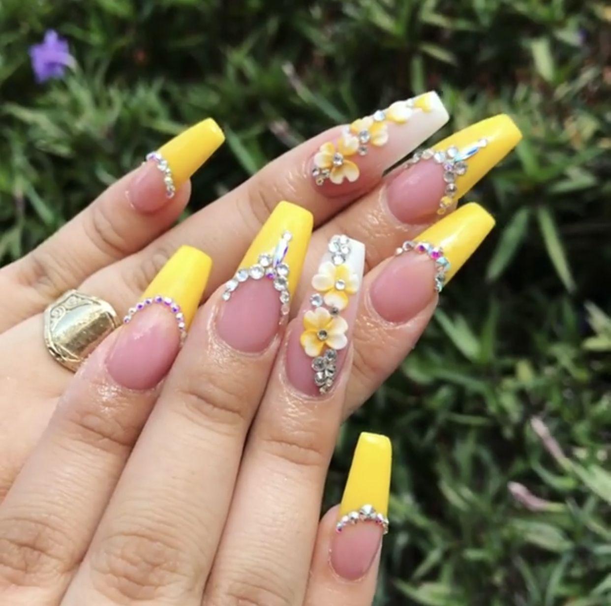 Long coffin nails yellow french with 3d flowers and