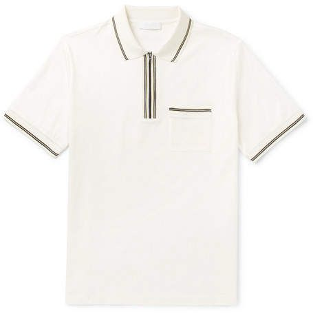 f766272b Prada Contrast-Tipped Cotton-Jersey Half-Zip Polo Shirt | Products ...