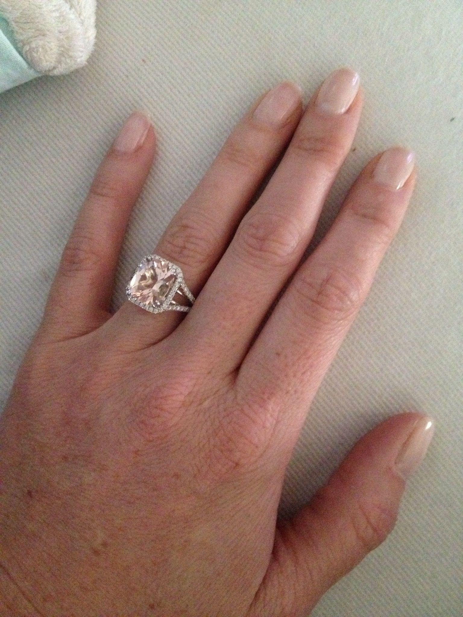 3 5 carat cushion cut morganite engagement ring with split shank