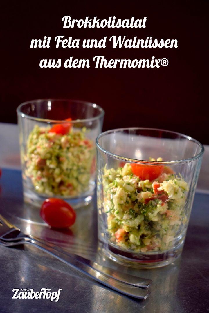 Brokkolisalat mit Feta und Walnüssen - mein ZauberTopf #chickenanddressing