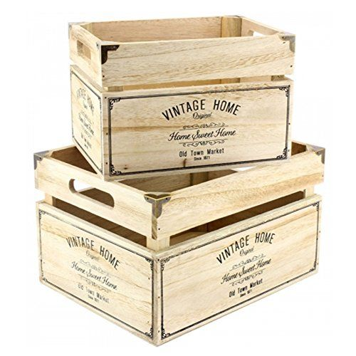 Set Of 2 General Store Storage Crate Wooden Rustic Basket Fruit Vintage Home New Amazon Co Uk Kitchen Ho Vintage Crates Rustic Baskets Wine Crate
