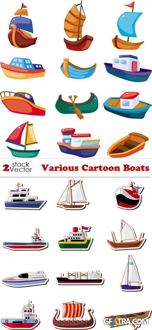 Vectors Various Cartoon Boats Boat Cartoon Boat Illustration