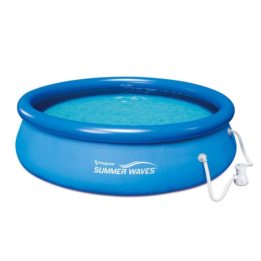 Summer Waves Ring Quick Set 10 Ft X 30 In D Inflatable Round Above Ground Pool With Rp350 Filter Pump System P1001030a156 The Home Depot Summer Waves Swimming Pool Filters In Ground Pools