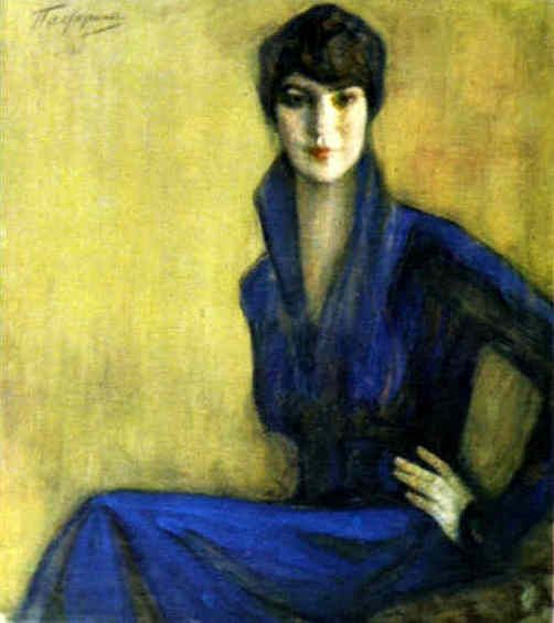 """Portrait of E.Levina. 1916. Tempera and pastel on paper   by  Leonid Osipovich Pasternak (1862-1945)"""