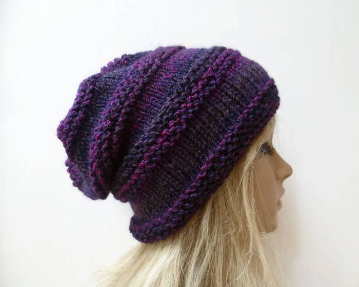 1af8d4a32ca Purple Slouchy Beanie Hat - Women Slouchy Hat - Hand Knitted Slouch Beanie  - Acrylic Beehive Slouchy Beanie - Clickclackknits by Clickclackknits on  Etsy
