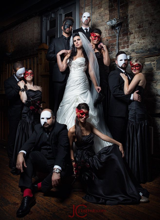 55 Creative Wedding Entourage Photo Ideas Masquerade Wedding Dark Wedding Wedding Entourage