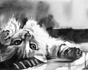 Impression De Peinture Aquarelle Chat Tigre Photo Kitty Chaton
