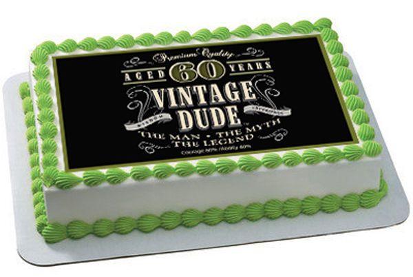 Vintage Dude 60th Edible Birthday Cake Topper OR Cupcake Decor BirthdayChild