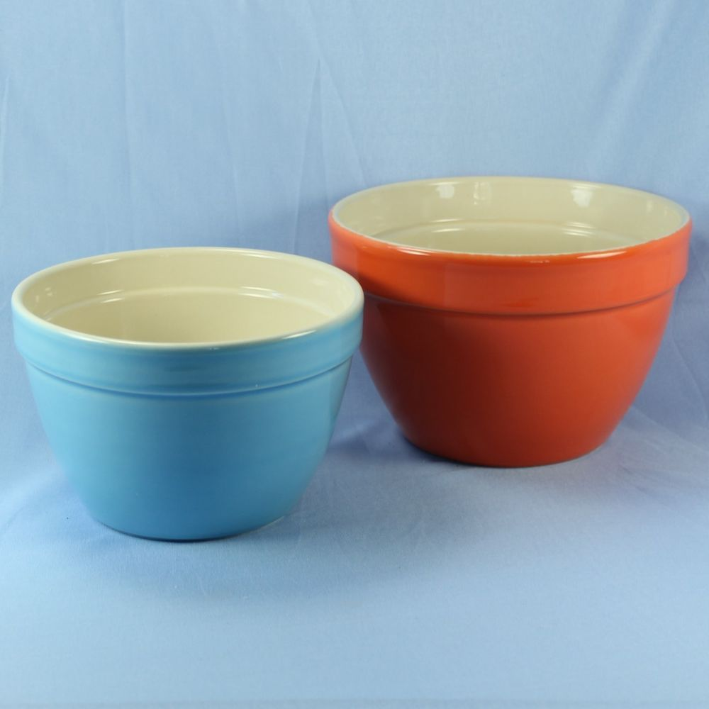 Crate Barrel Set Of 2 Addison Nesting Mixing Bowls 6 Sky Blue And 7 Orange Crate And Barrel Mixing Bowls Bowl
